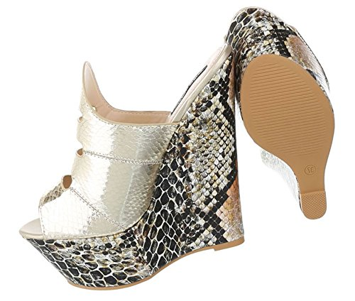 Mary Jane Schuhe | Damen Pumps Plateau | Keilabsatz High Heels | Metallic Wedges Riemchen | Kroko Leder-Optik | Plateauschuhe | Hohe Wedges Sandalette | Schuhcity24 Gold
