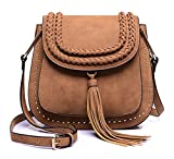 Classic Women Shoulder Bag Luxury Brands Knitting Suede Leather Big Saddle Bag Vintage Female Cover Crossbody Handbags (brown)