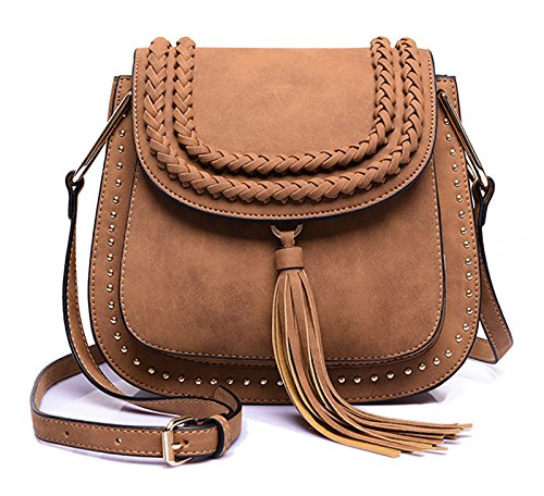 Classic Women Shoulder Bag Luxury Brands Knitting Suede Leather Big Saddle Bag Vintage Female Cover Crossbody Handbags (Munchkin Costumes Shoes)