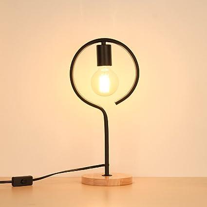 HAITRAL Desk Lamp Wooden Base Bedside Table Lamp Vintage Night Light For  Office, Living Room