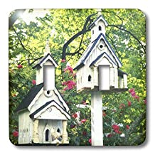 3dRose LLC lsp_37411_2 White Wood Bird Houses with Pink Flowers and Trees, Double Toggle Switch