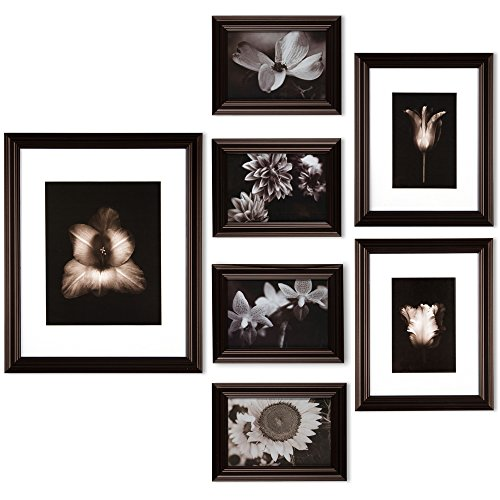Gallery Perfect 7 Piece Walnut Photo Frame Wall Gallery Kit. Includes: Frames, Wall Template, Decorative Prints and Hanging Hardware
