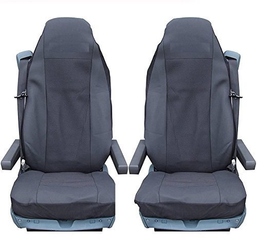 flexzon Pair Of Black Fabric Tailored Seat Covers Volvo Trucks Fh12 Fh 16 Fl Fm Fh16