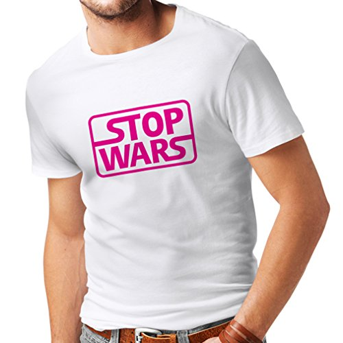 lepni.me T Shirts For Men Fill up Wars Political Issues Quotes - Keep The Peace (XX-Large White Magenta)