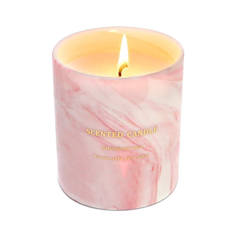 Gifts for Women - Scented Candles 100% Pure Natural Soybean Wax with Plant Essential Oils for Stress Relief Aromatherapy (Marble Pink)