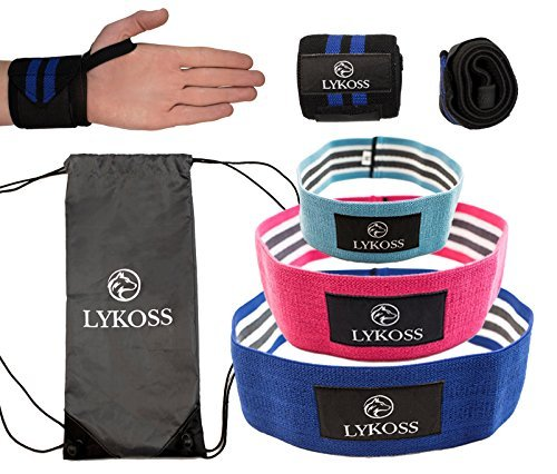 Lykoss Booty Band Kit: Hip Circles Made With Thick 5 Layered GRIPS (3 Resistance Levels) + 18\