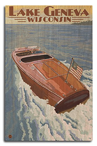 (Lantern Press Lake Geneva, Wisconsin - Chris Craft Wooden Boat (10x15 Wood Wall Sign, Wall Decor Ready to Hang))