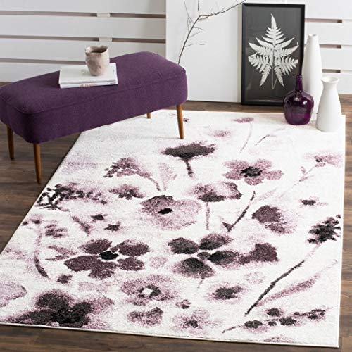 D&H Meticulously Purple Floral Pattern Area Rug (4' x 6'), Gorgeous Pretty Flowers Vintage Design Theme, Luxurious Comfort, Plum Colored Floor Carpet, Vibrant Color ()