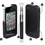 TPLB Waterproof Shockproof Dirt Snow Proof Case Cover for iPhone 4 4S-Black