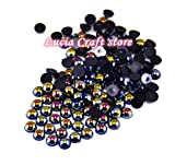2x2000pcs 1.5mm ABS Half Round Pearls Rhinestone gems (Black)