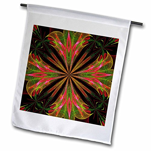 3dRose Renderly Yours Patterns - Abstract Green, Pink, and Yellow Fountain Flower - 18 x 27 inch Garden Flag (fl_269422_2) by 3dRose