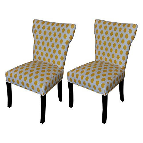 Sole Designs Bella Collection Modern Wingback Upholstered Dining Chair, Spring Seating Slipper/Side Chair, JoJo Series, Yellow Finish (Set of 2) (Yellow Wingback Chair)