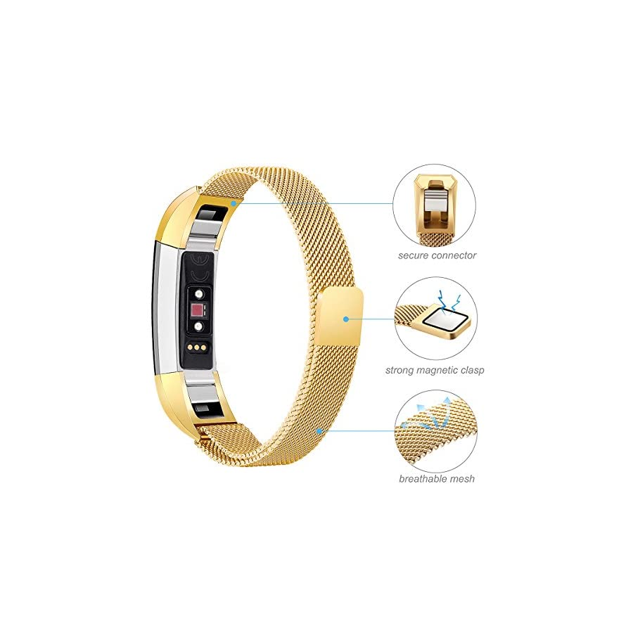 """bayite Stainless Steel Bands Compatible Fitbit Alta and Alta HR, Milanese Loop Women Men Pack of 2, Silver and Gold 5.5"""" 6.7"""""""