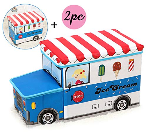 Moon Moon Ice Cream Car Combination, Kids Collapsible Toy Storage Organizer, Toy Box Combination Folding Storage for Kids Bedroom, Kids Toys, Toy Car Suit(a car head, a car box)
