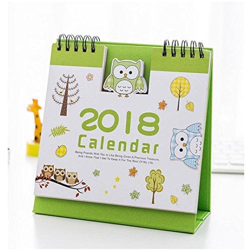 [Lovely Cartoon Calendar,Hongxin 2018 Cute Cartoon Animal Desk Desktop Calendar Flip Stand Table Office Planner (C)] (Cute Halloween Desktop Wallpapers)