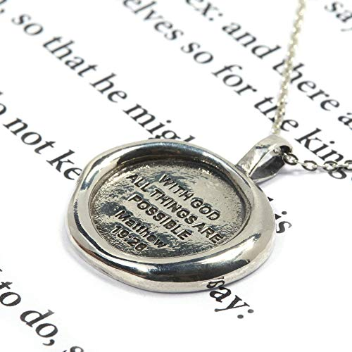 Bible Necklace for Women Matthew 19:26 Bible Verse Prayer 18 inch Chain Necklace 925 Sterling Silver Pendant