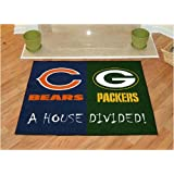 """Chicago Bears / Green Bay Packers House Divided NFL All-Star"""" Floor Mat (34""""x45"""")"""
