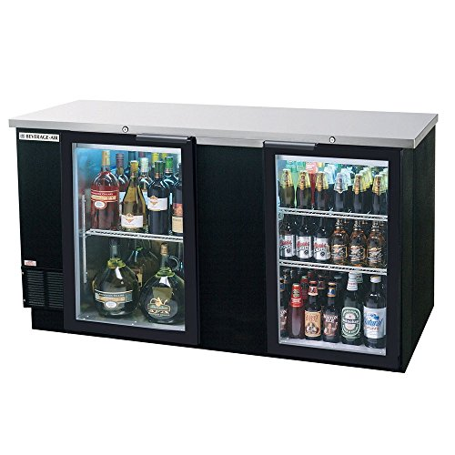 Beverage Air BB68GF-1-B Two-Section Refrigerated Food Rated Back Bar Storage Cabinet 68