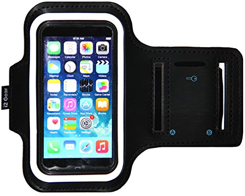 Price comparison product image iPhone 5/5S/5c SE Running & Exercise Armband with Key Holder & Reflective Band | Also Fits iPhone 4/4S (Black)