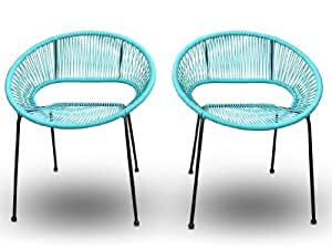 Harmonia Living 2 Piece Acapulco Patio Dining Chairs, Glacier Blue (SKU HL-ACA-2DC-GB)