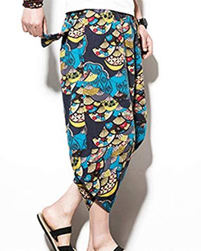 3 Pantaloni Spiaggia Fashion Harem Casuale Per Libero Uomini Estate Armeegrün1 Tempo 4 Di Gli Bloomers Lino Vintage Fiore Il vXIwq