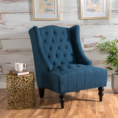 Christopher Knight Home 299877 Clarice | | Tall Wingback Fabric Accent Chair | Perfect for Living Room, Dark Blue
