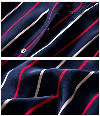AIBAB Camicia da Donna A Maniche Lunghe in Seta Top in Chiffon Colletto Dritto Strisce Verticali Sottile Blu Navy