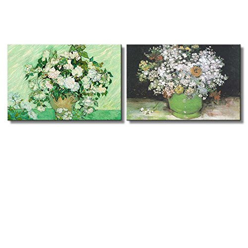 Roses Still life paintings by Vincent Van Gogh Oil Painting Reproduction in Set of 2 x 2 Panels