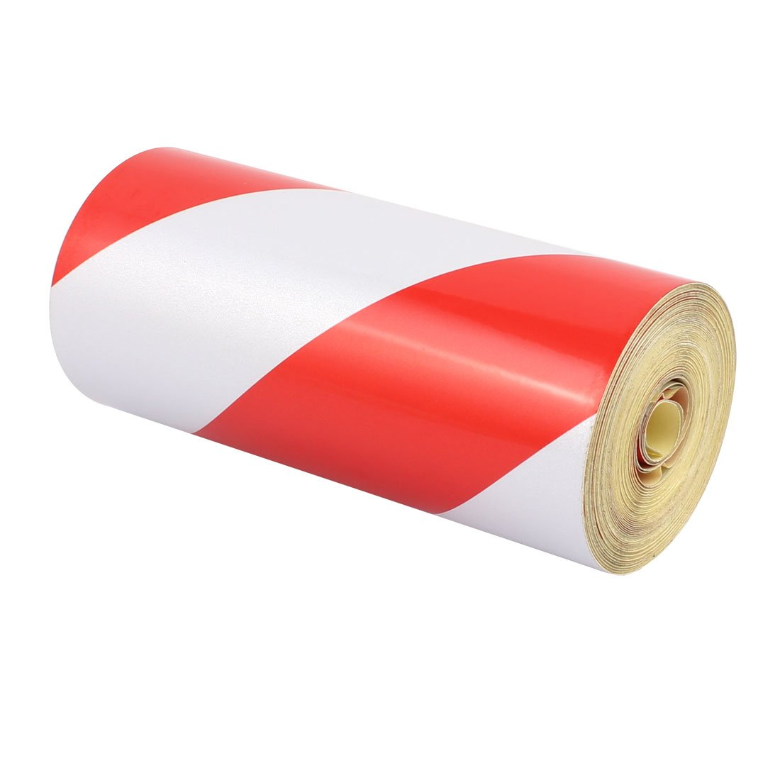 uxcell 15cm x 15M Single Sided Adhesive Reflective Safety Warning Tape Tilt Red White