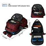 MarsBro Laptop Backpack, Anti Theft Business Travel Gear with USB Charging Port College Water Resistant 15.6 Inch Bag Wine Red