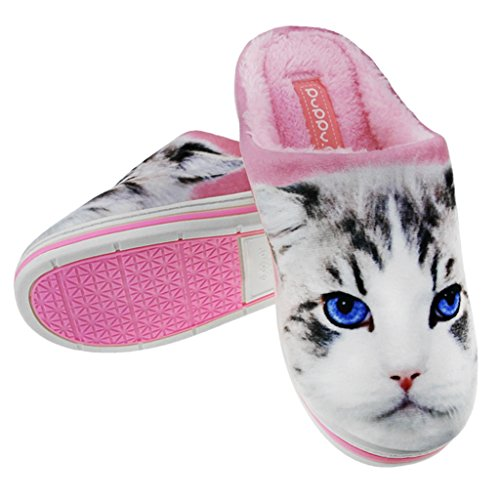 Greenery Couple Home Slippers, Womens Girls Cartoon Cat Soft Cozy Cotton Plush Warm Slip-On Indoor Slippers Winter Thermal Fleece Scuff Mules Waterproof Non-Slip Rubber Sole Shoes Clog Footwear Boots by Greenery