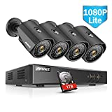 ANNKE 8 Channel Security Camera System with 1080P lite DVR +4 960P Indoor Outdoor Waterproof CCTV Surveillance Camera, 1TB Hard Drive Included(Certified Refurbished)