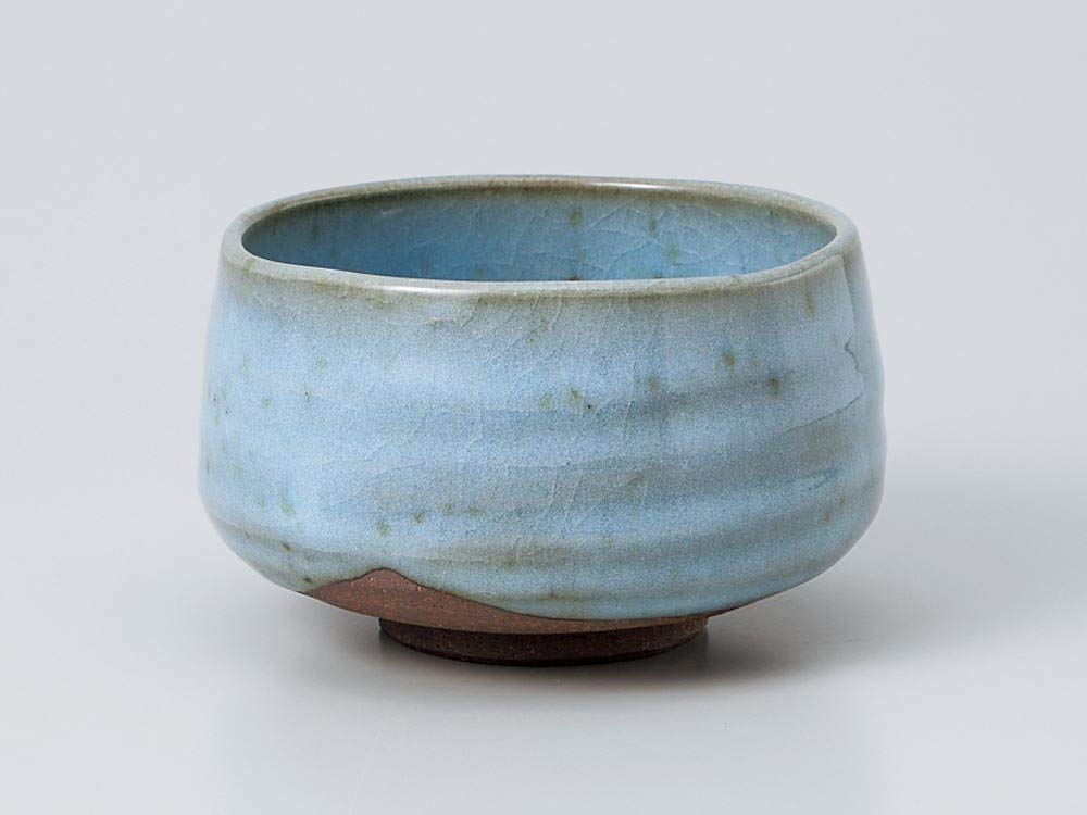 Matcha bowl 4.53''dia. Japanese tea cup for tea ceremony, Authentic Mino Ware Pottery, Chawan, Sky blue KG776405