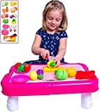 Pretend Play Vegetables Play Table - Cuttable Play Fruits and Veggies - Plates and more | 23' Table can fold into a Storage Suitcase! Makes a Great Gift for Young Girls