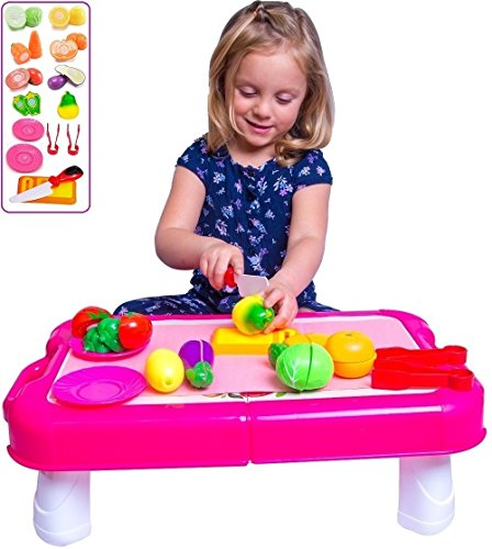 """FUNERICA Pretend Play Vegetables Play Table - Cuttable Play Fruits and Veggies - Plates and More 