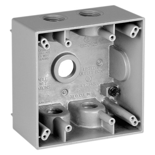 Sigma Electric 14353-5 3/4-Inch 5 Hole 2-Gang Box, Grey ()