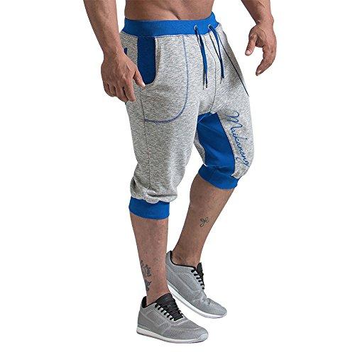 MAIKANONG Men's Jogger Sweatpants Shorts Large Pocket Drawstring Carpi Pants (Shorts Drawstring Capri)