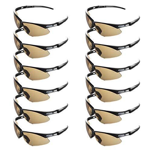 JORESTECH Eyewear - Safety Protective Glasses Case of 12 (Brown) (Yellow Tinted Amazon Sunglasses)