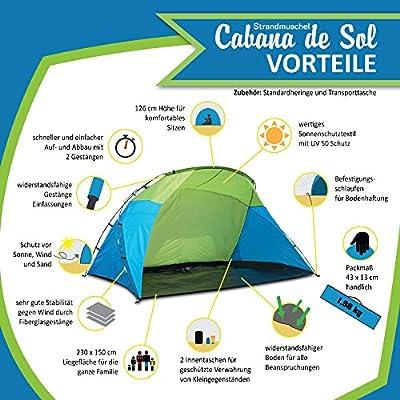 outdoorer tienda de playa familiar Santorin UV 60 protecci/ón solar; pack ligero
