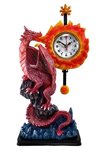 Gothic Mystical 3D Dragon on Cliff Desk Shelf Clock with Sun Moon Pendulum, 12.5 Inches Tall (Red)