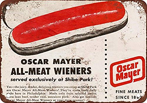 - Houseuse 1953 Oscar Mayer Wieners at Shibe Park Vintage Look Reproduction Metal Tin Sign 12X16 Inches