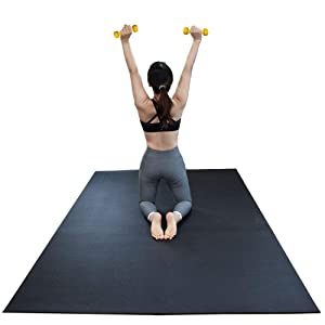 """RevTime Large Exercise Mat 6 x 4 feet (72"""" x 48"""" x 1/4"""") 6 mm Thick & High Density Mat for Home Cardio and Yoga Workouts, Durable Gym Floor Mat, Black"""