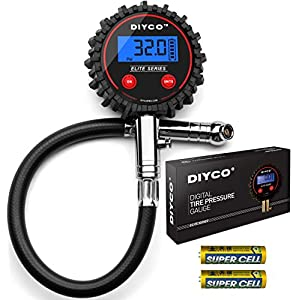 Digital Tire pressure gauge by DIYCO | For Cars Motorcycle Rv Suv Truck TPMS Bike | 150 PSI with Heavy Duty Air Hose | Professional-Grade High Accuracy Gauges | Designed in USA