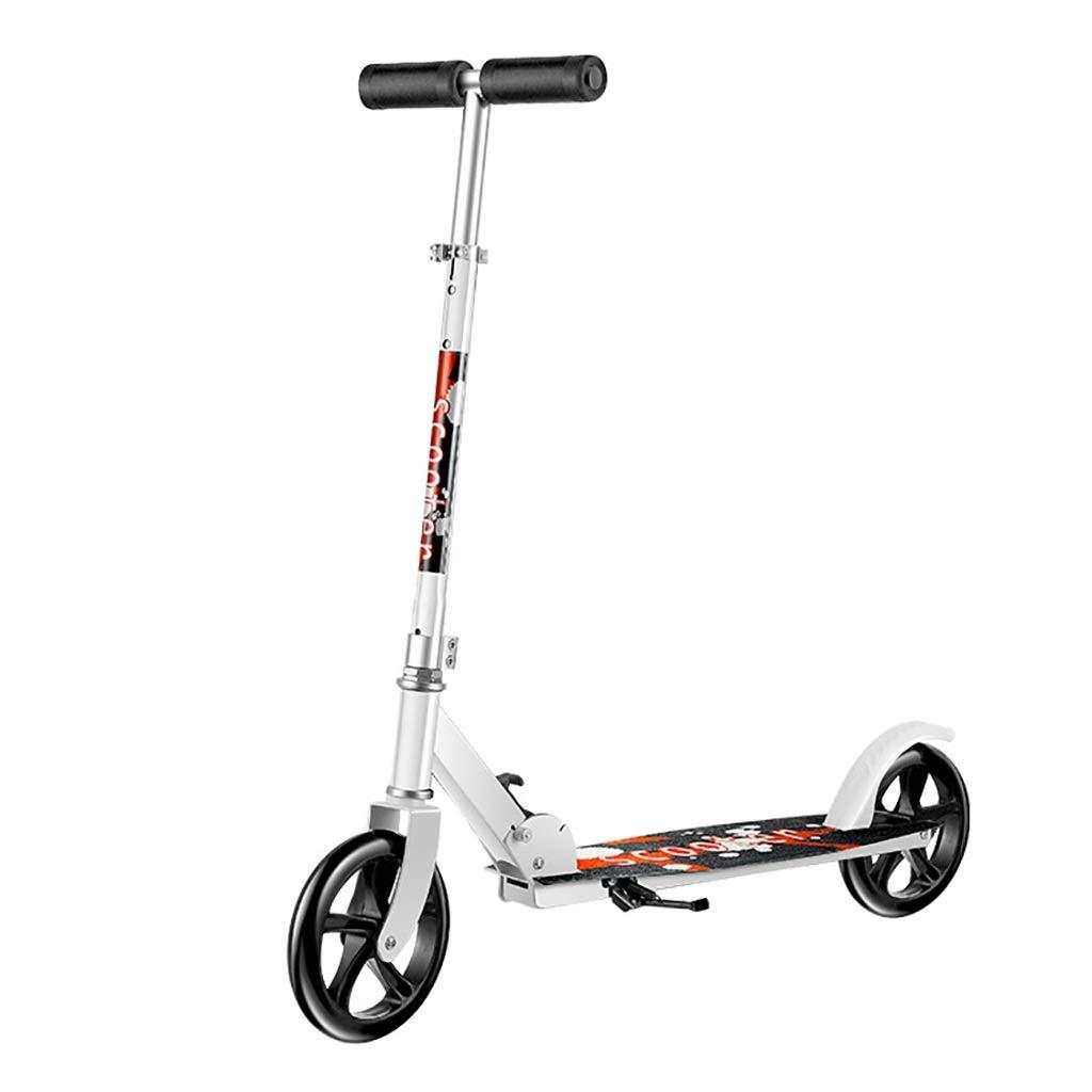 キック ボード 通勤, スクーター、折りたたみ式大人用二輪スクーター、大輪スクーター、ハンドルバーの高さ調節可能(非電動) (Color : 白い) 白い