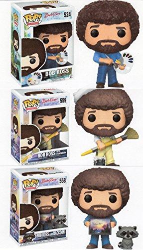 Funko Bob Ross 3 75  Pop Figure Collection Bundle   Bob With Paint Palette   Raccoon   Paint Brush