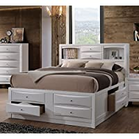 ACME Furniture Ireland 21696EK Eastern King Bed with Storage, White