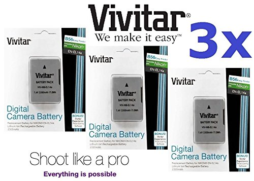 Hi Capacity 3-Pcs Vivitar 2300mAh EN-EL14a EN-EL14 Battery for Nikon D3400 D5500