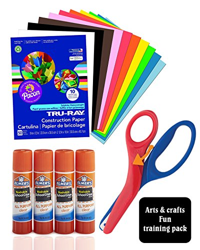 Arts & Crafts Fun Combo for Kids, Includes Heavyweight Construction Paper 9x12-inches 50 count Assorted With Pre-School Training Scissor, and Elmer's All Purpose Glue Sticks, Clear, Washable, 4 Pack by Top Quality Value Packs