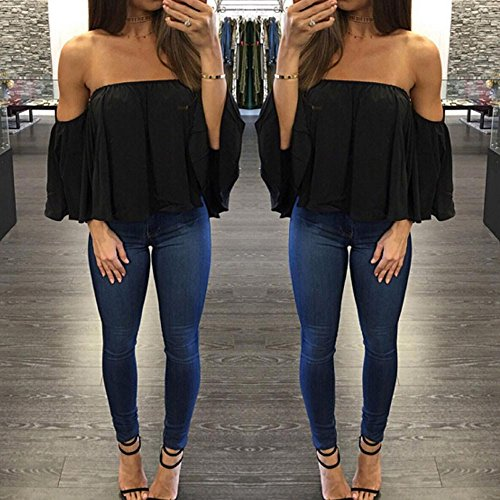 SKY Especially !!! mujer long sleeves snow spinning strapless loose T-shirt Blusa de hombro sin mangas negro