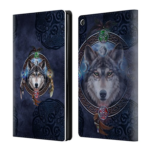 Official Brigid Ashwood Wolf Guide Celtic Wisdom Leather Book Wallet Case Cover For Amazon Fire HD 8 Guide Wolf